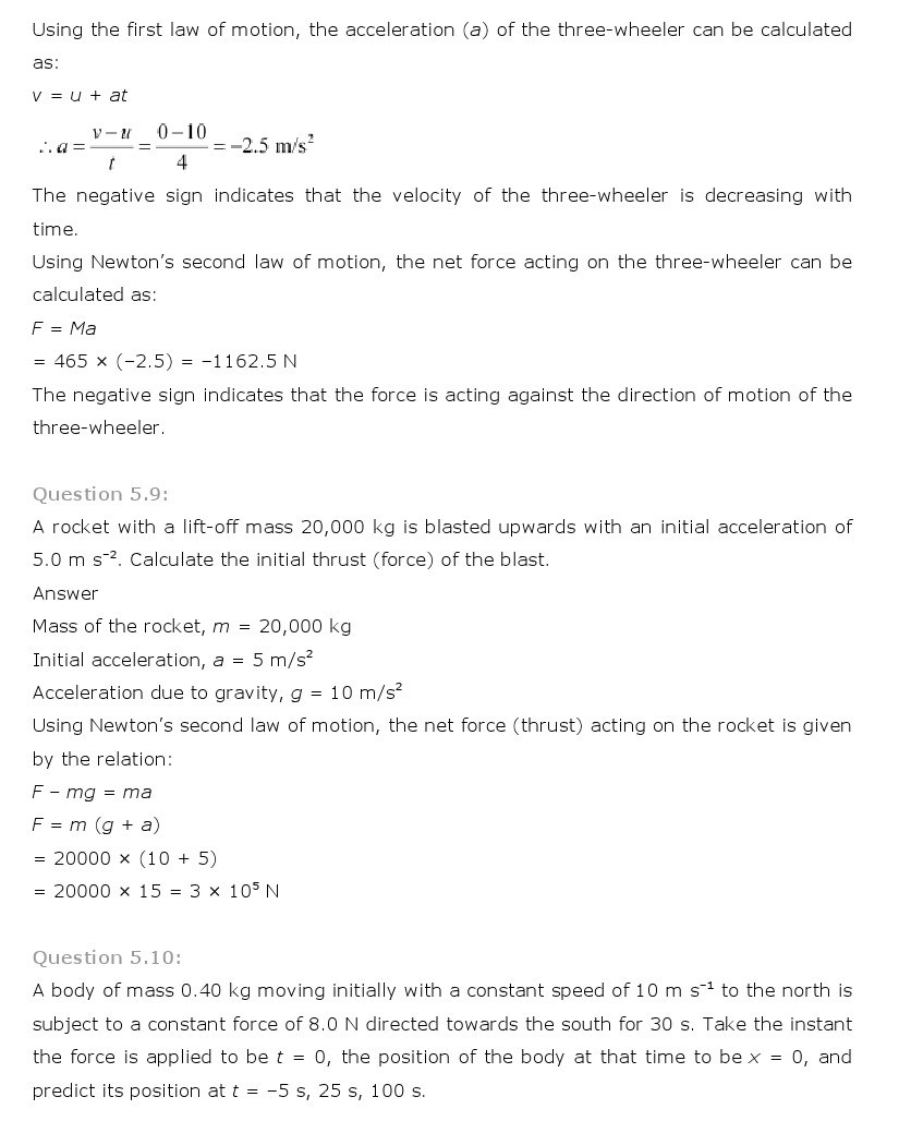 11th, Physics, Laws of motion 7