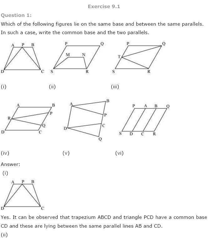 Areas of Parallelograms NCERT Solutions 1