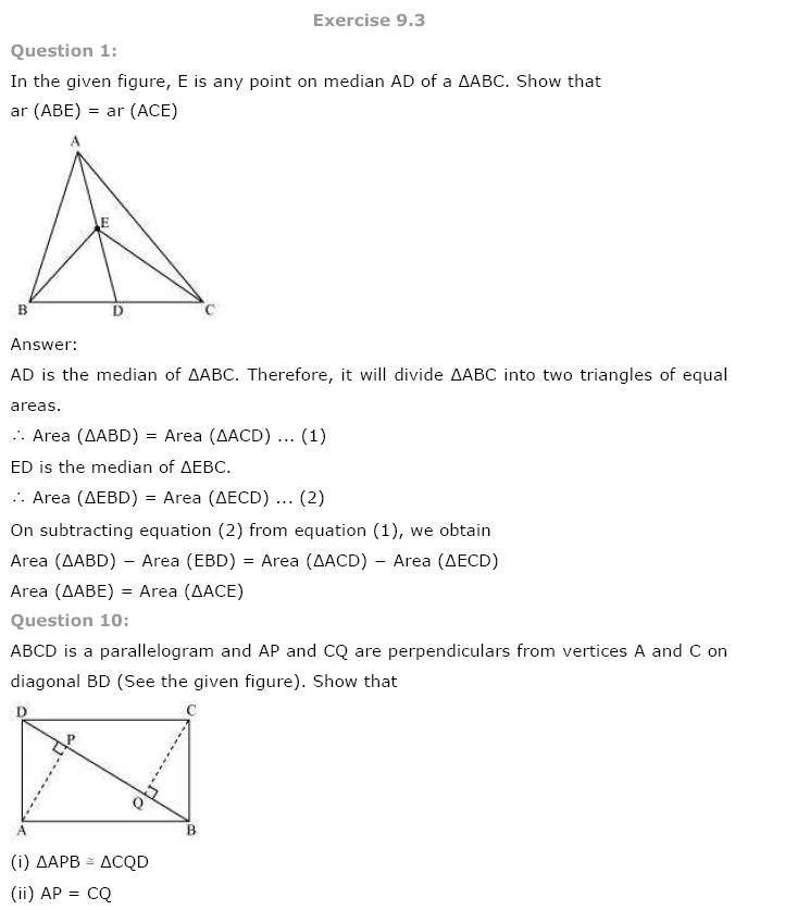 Areas of Parallelograms NCERT Solutions 12