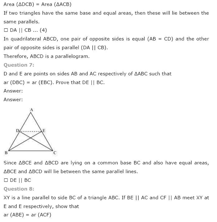 Areas of Parallelograms NCERT Solutions 16