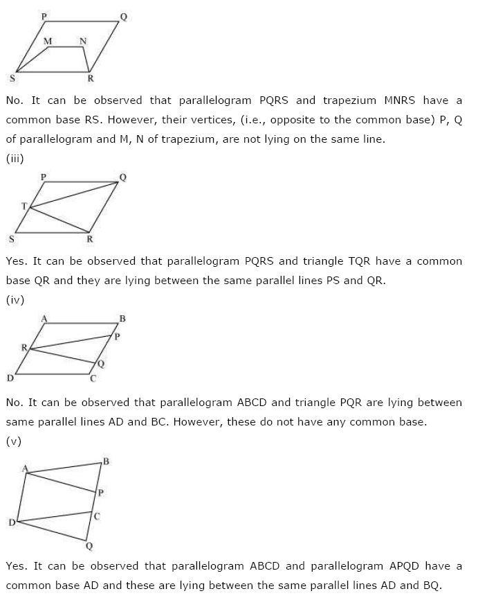 Areas of Parallelograms NCERT Solutions 2