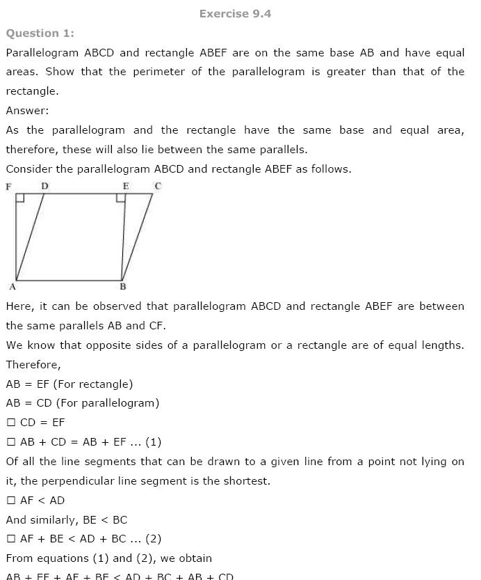 Areas of Parallelograms NCERT Solutions 25