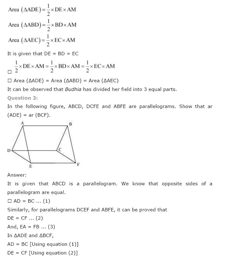 Areas of Parallelograms NCERT Solutions 27