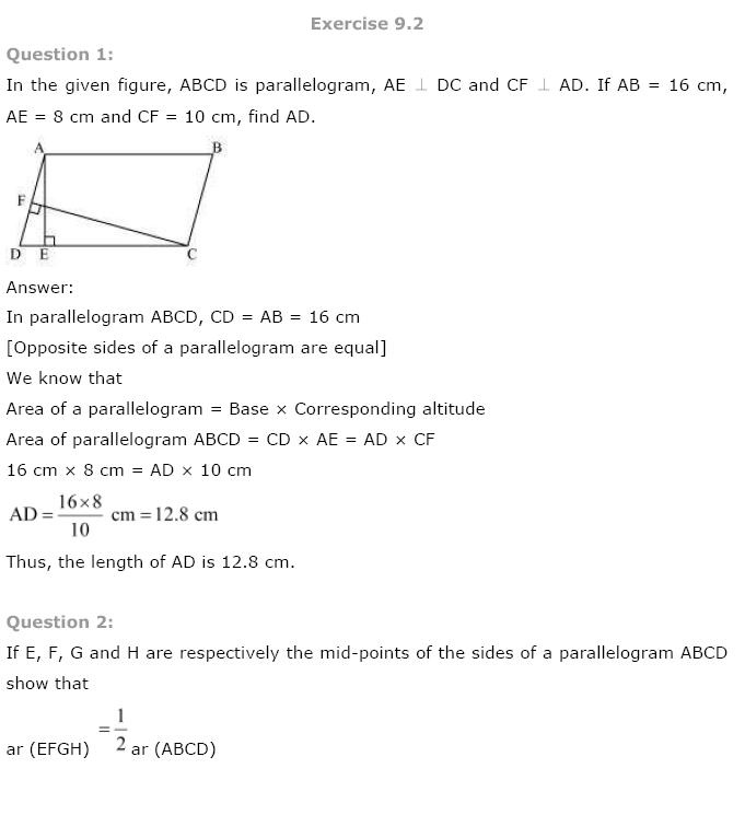 Areas of Parallelograms NCERT Solutions 4
