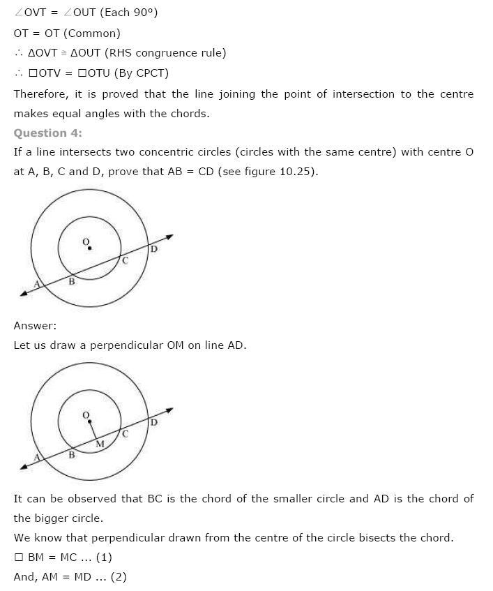 Circles NCERT Solutions 12