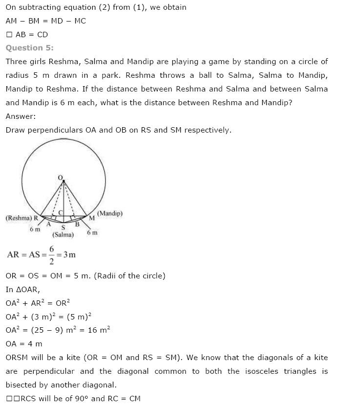 Circles NCERT Solutions 13