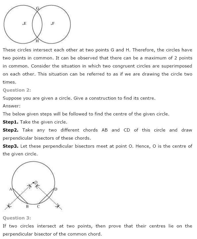 Circles NCERT Solutions 7