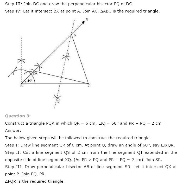 Geometric Constructions NCERT Solutions 12