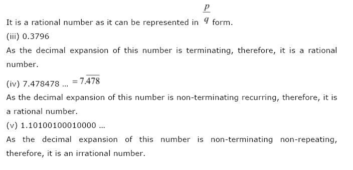 Number Systems NCERT Solutions 10