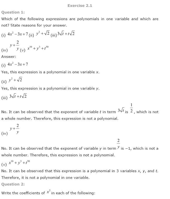 Polynomials NCERT Solutions 1