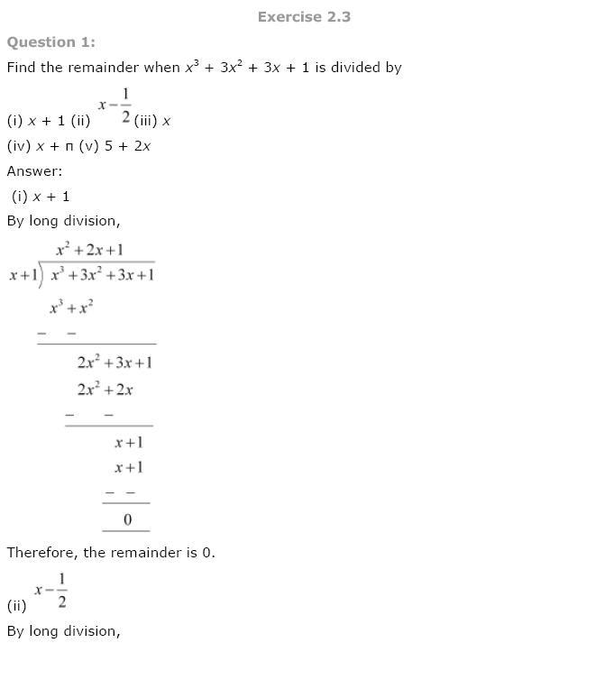 Polynomials NCERT Solutions 11
