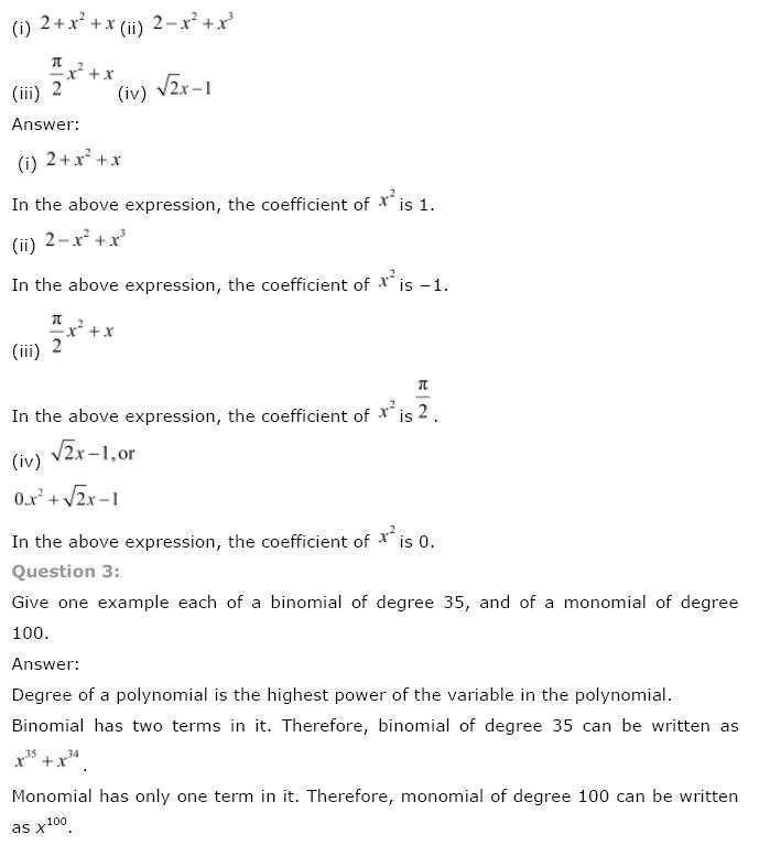 Polynomials NCERT Solutions 2