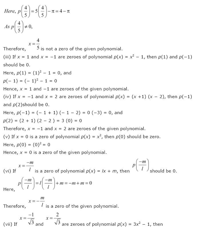 Polynomials NCERT Solutions 7