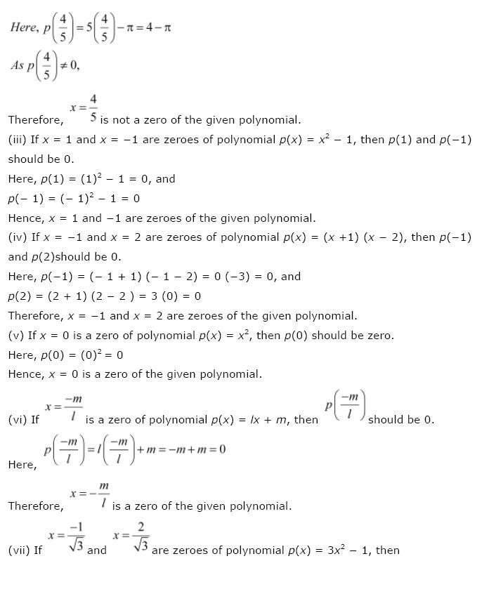 Polynomials NCERT Solutions 7