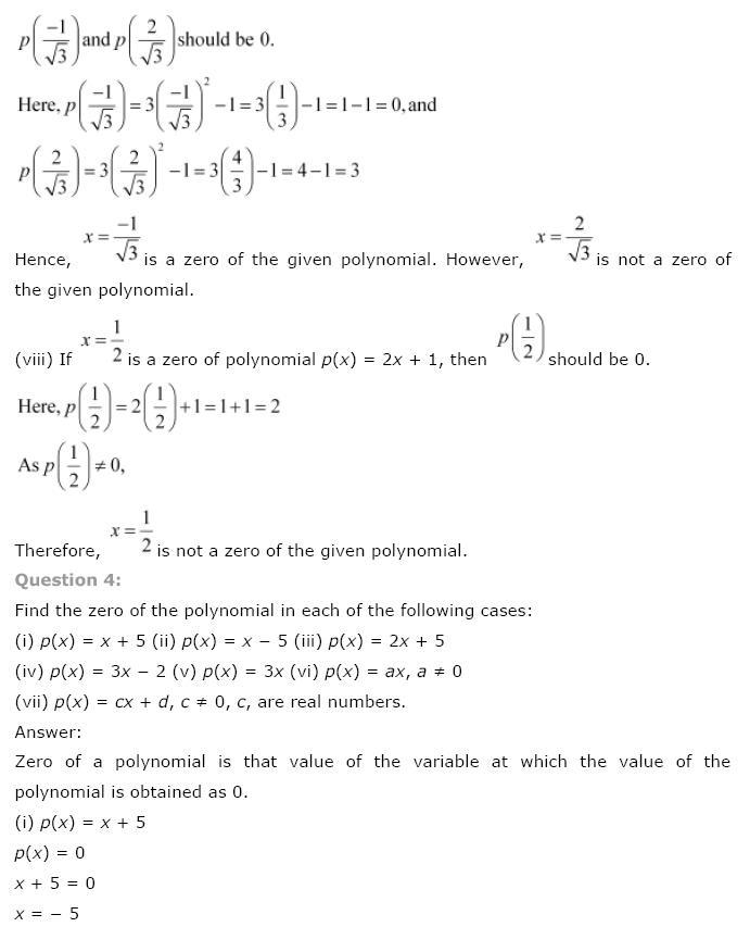 Polynomials NCERT Solutions 8
