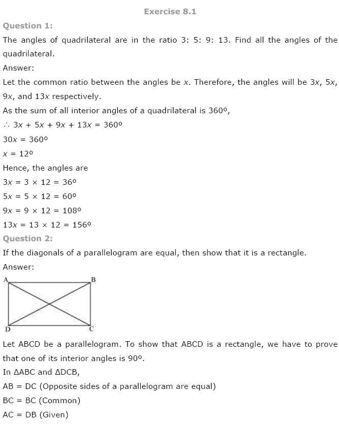 Quadrilaterals NCERT Solutions 1