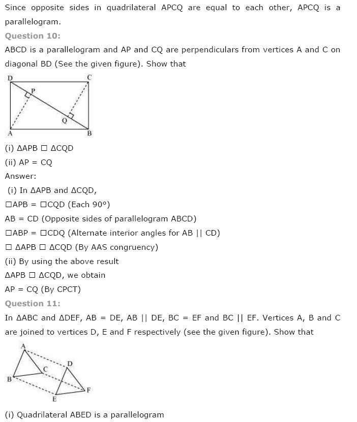 Quadrilaterals NCERT Solutions 10