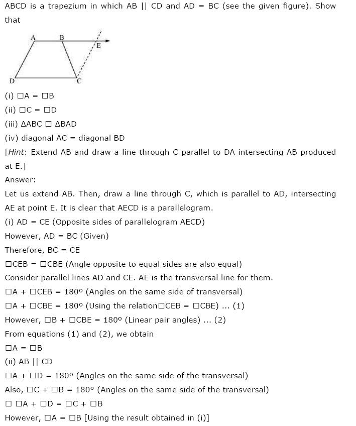 Quadrilaterals NCERT Solutions 12