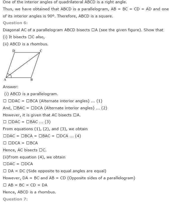 Quadrilaterals NCERT Solutions 6