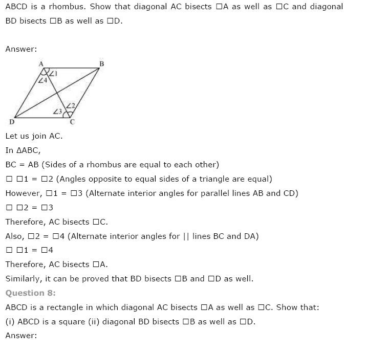 Quadrilaterals NCERT Solutions 7