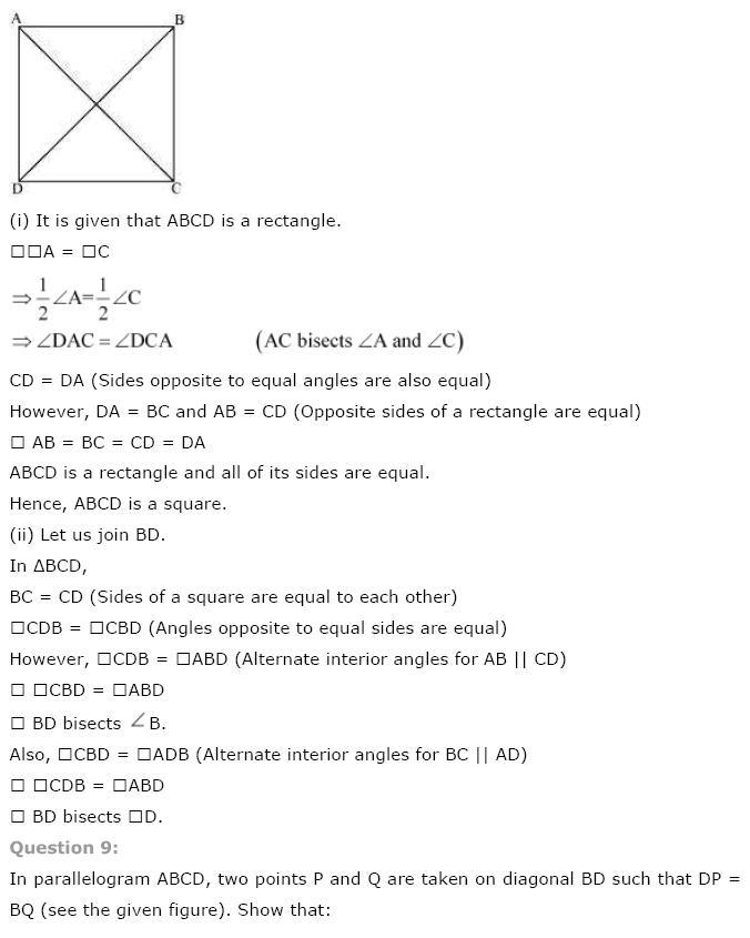 Quadrilaterals NCERT Solutions 8