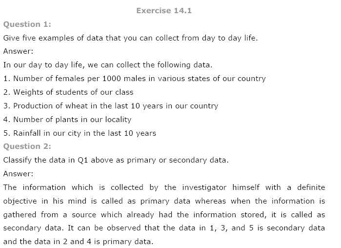 Statistics NCERT Solutions 1