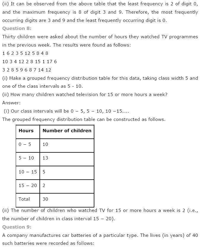 Statistics NCERT Solutions 8