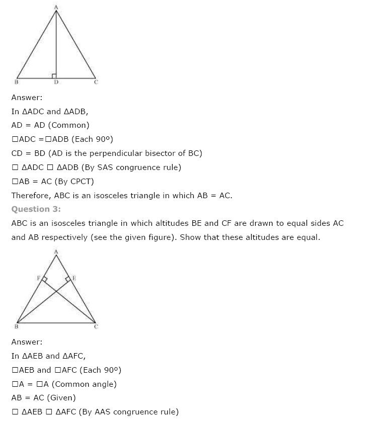 Triangles NCERT Solutions 8